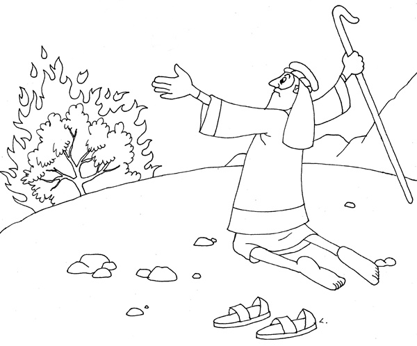 Whats In The Bible Coloring Pages Burning Bush