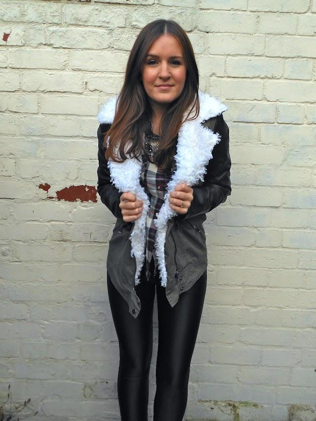 Missguided leather Sleeve khaki Jacket