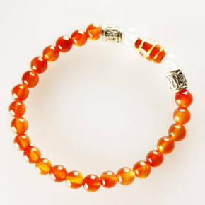 Red Agate with Tibetan Dzi Beads Bracelet