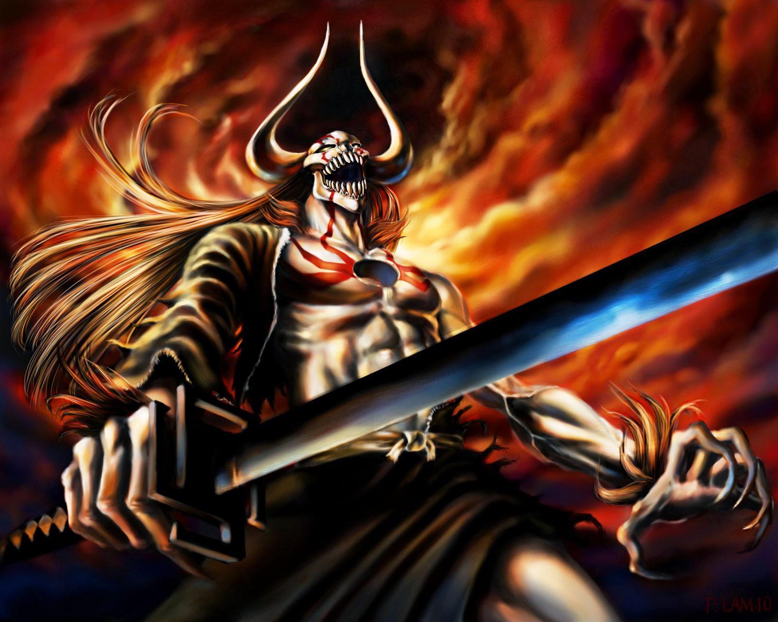 ICHIGO FULL HOLLOW BADASS POWER BLEACH WALLPAPER