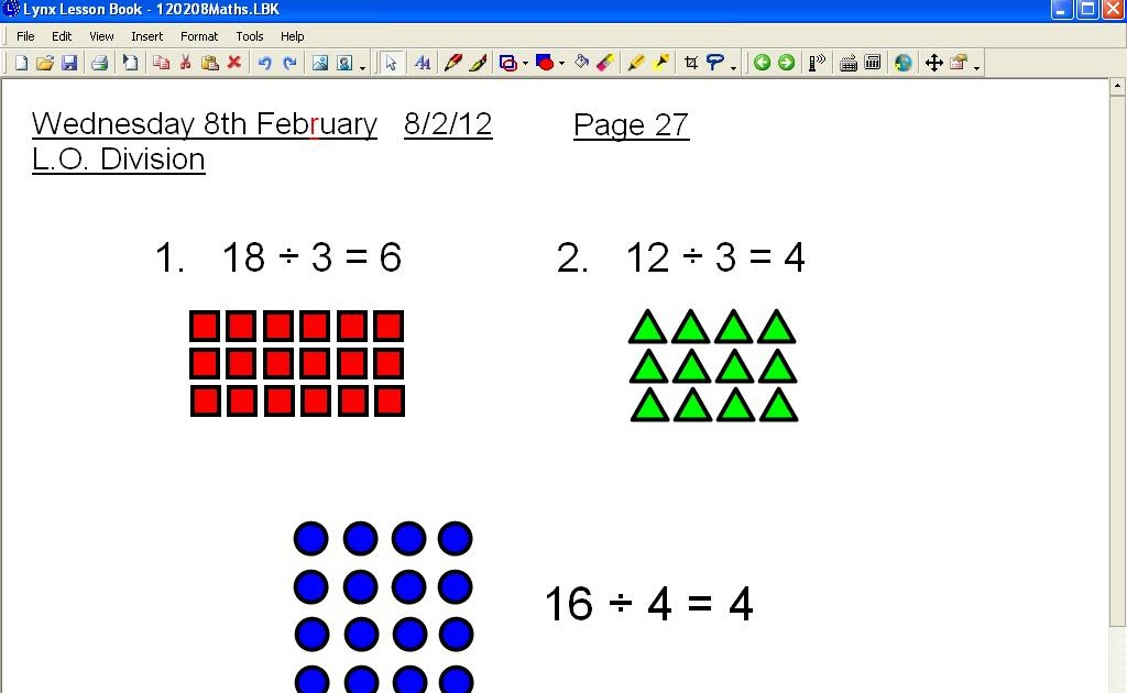 Mr Howes Class Maths Dividing Using Arrays