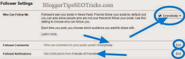 facebook follower settings to everybody