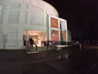 Brooks Museum of Art front entrance at night