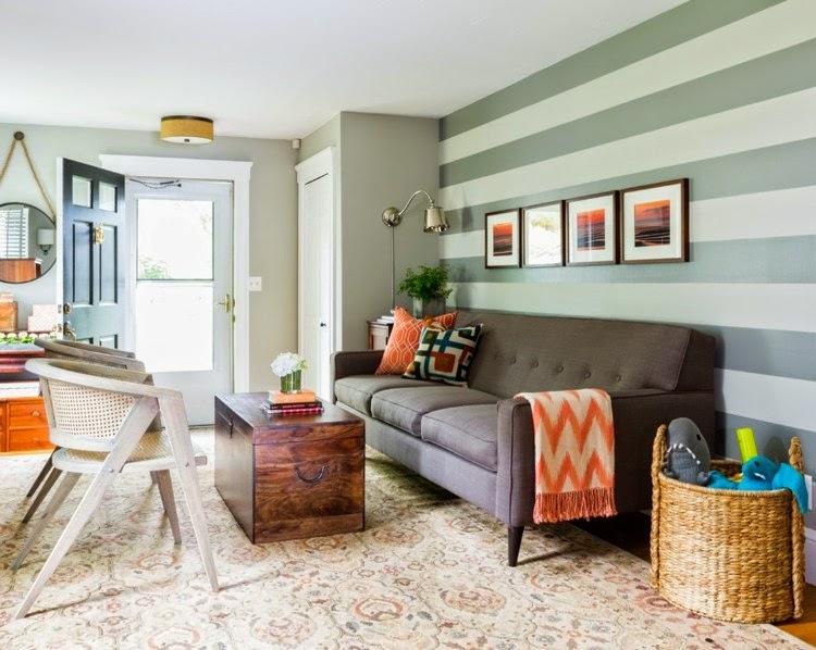 Dise os de salas con paredes a rayas salas con estilo - Pared rayas horizontales ...