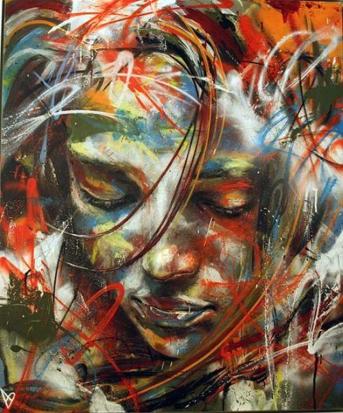 David Walker pinturas mulheres cores spray em tela e nas ruas da cidade