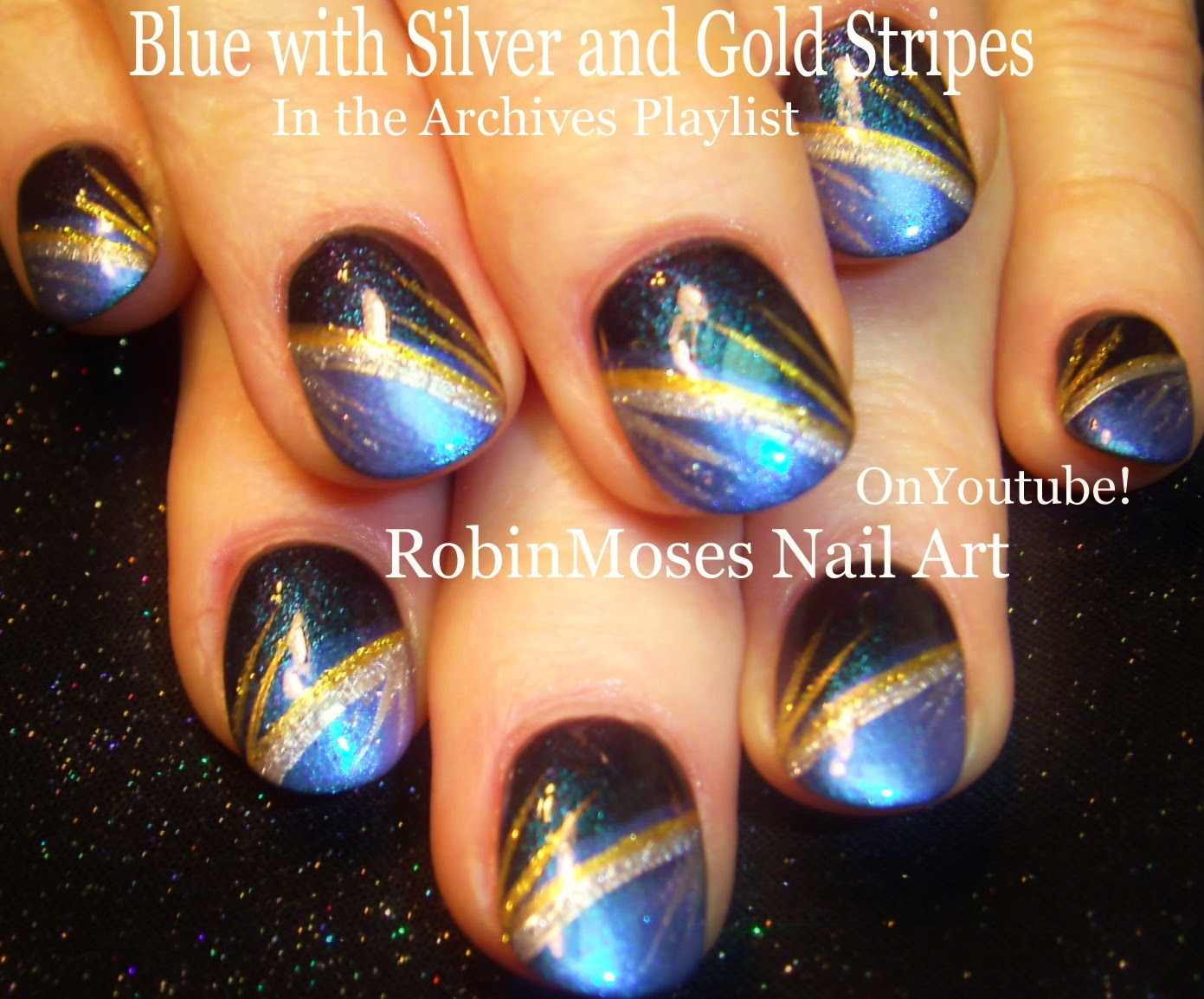 Nail Art By Robin Moses Stripe Nails Stripe Nail Art Blue