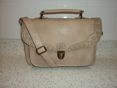 Beige Scallop Cut Out Floral Faux Leather Cross Body Bag