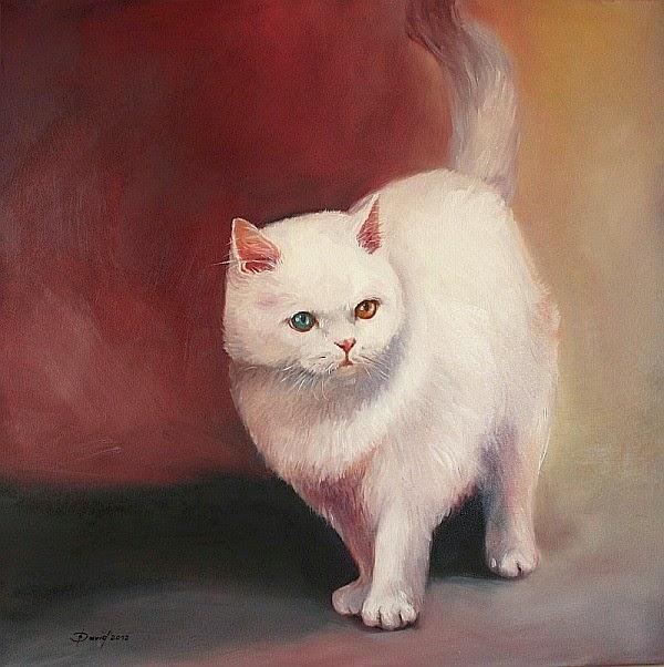 Katze stehend, Ölgemälde auf Leinwand, Tiermalerei