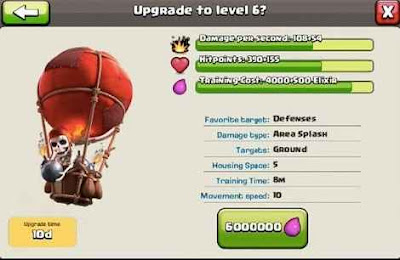 Upgrade Balloon Clash of Clans ke Max