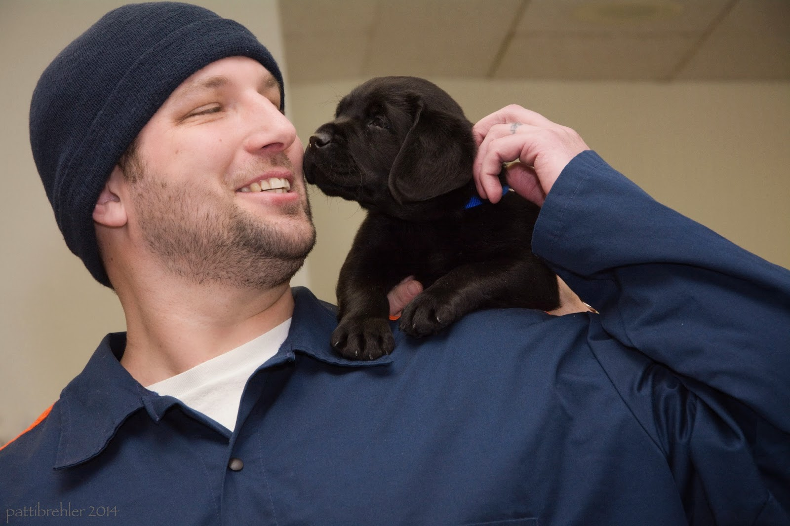The small black lab puppy sniffs the cheek of his new raiser. The man is taking hold of the puppy's blue collar with his left hand and is looking at the puppy with a huge smile on his face.