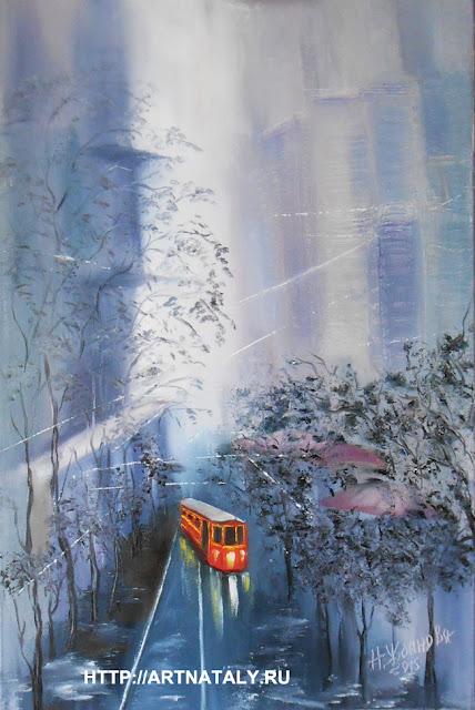 Картина маслом Трамвай желания городской пейзаж