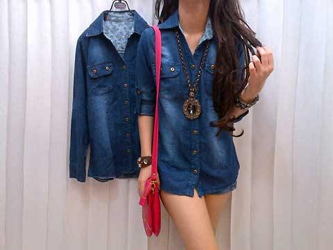 model kemeja jeans denim wanita