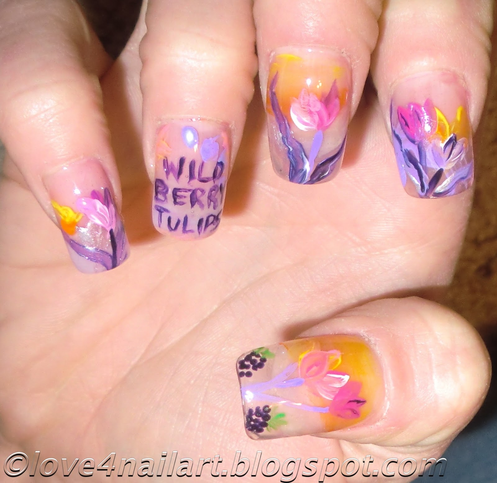 BBW - Wild Berry Tulips & Wild Apple Daffodil Nail Design