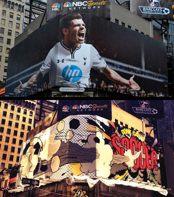The image of Gareth Bale in Times Square to promote the Premier League is gone