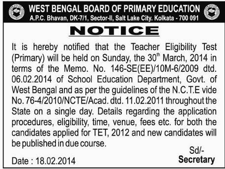 Exam Date of West Bengal Primary Teacher Eligibility Test(WBTET) 2014