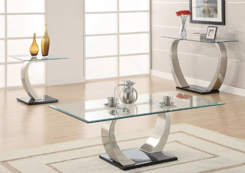 Haram Furniture Coffee Table With Glass Top In Silver And Black Metal