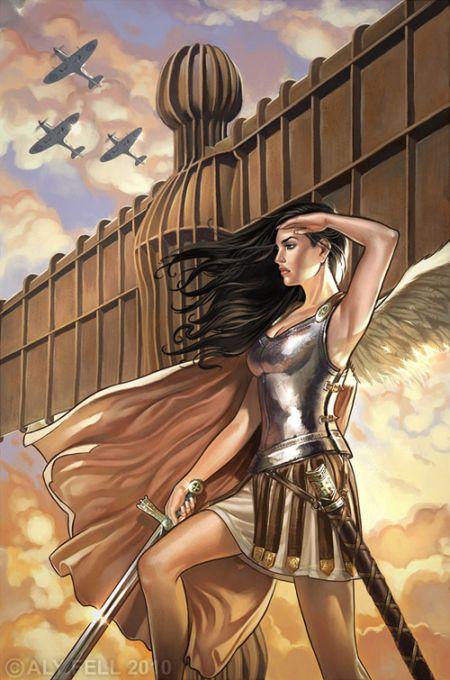 aly fell ilustrações mulheres sensuais fantasia sombria Batalha angelical