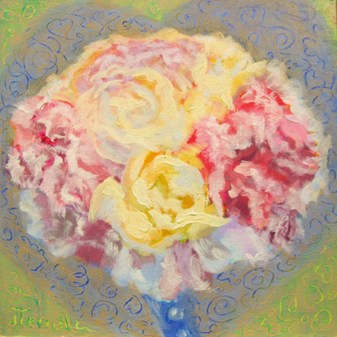 Hearts and Flowers an original oil painting by Joan Terrell