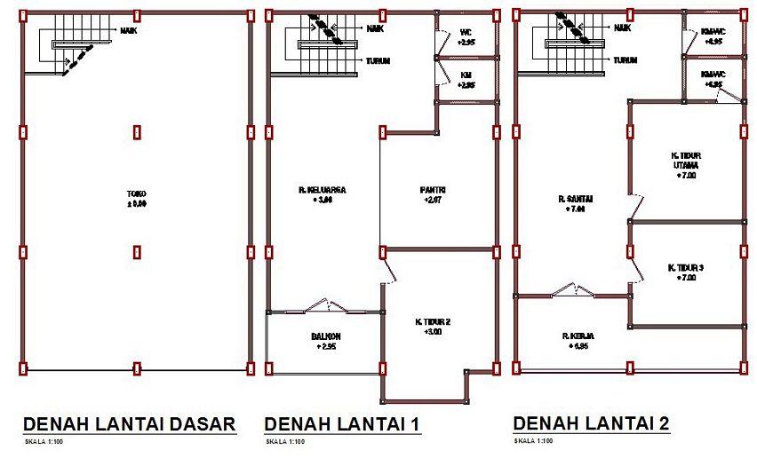 model denah rumah 3 lantai idaman