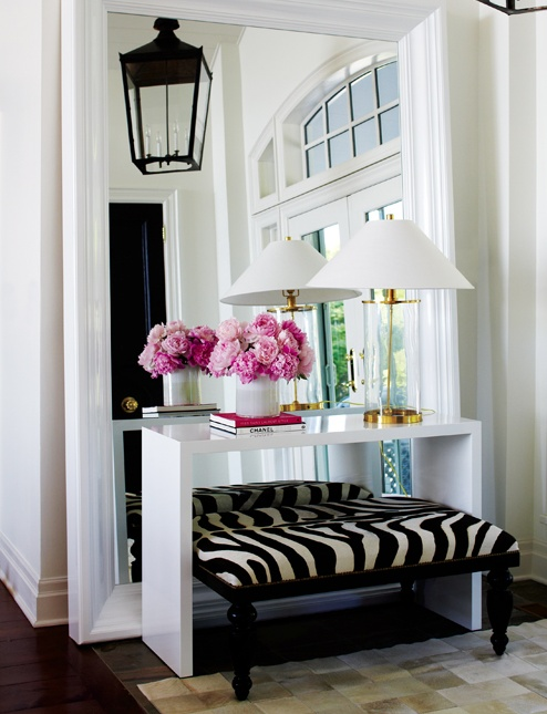 Love The Large Mirror Used In This Space Is Perfect Way To Make A Small Entrance Or Hallway Seem Much Larger Also Pop Of Pink And Black