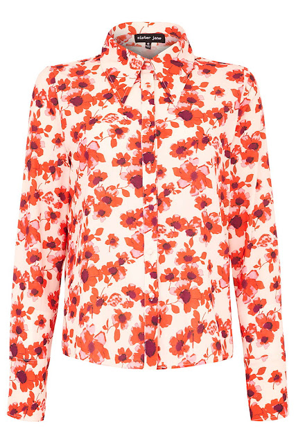 sister jane red blouse, red flower blouse,