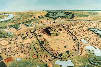 Кахокия около 1150 г. Планировка города, возможно, отражала   <p>космологические представления миссисипцев