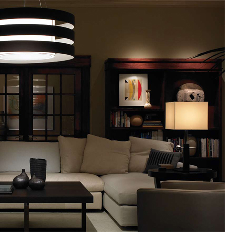 Lutron Grafik Eye QS lights and blinds control system in the living room