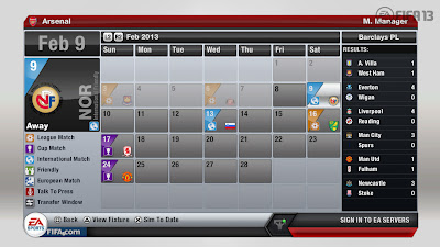 FIFA 13 Career Mode - Game Calendar