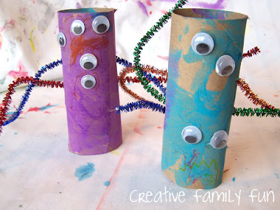 photo of: Monsters from Upcycled Materials from Creative Family Fun (via Monster RoundUP from RainbowsWithinReach)