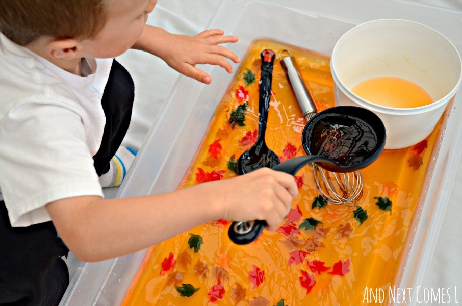 Fall/autumn inspired water sensory play for toddlers and preschoolers from And Next Comes L
