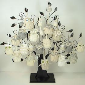knit owl ornament tree