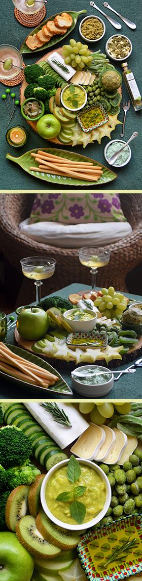 Uma tábua verde e vegetariana