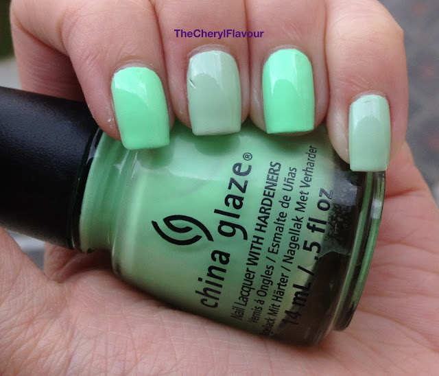 China Glaze Highlight Of My Summer vs China Glaze Re-fresh Mint