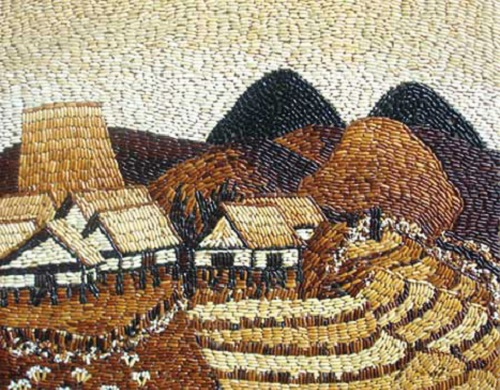 rice grain mosaic paintings