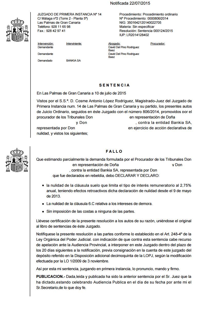 Nueva sentencia en las palmas anulando una cl usula suelo for Intereses clausula suelo