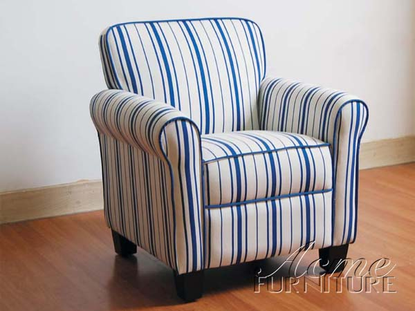 Blue & White Striped Chair to contrast the white couch
