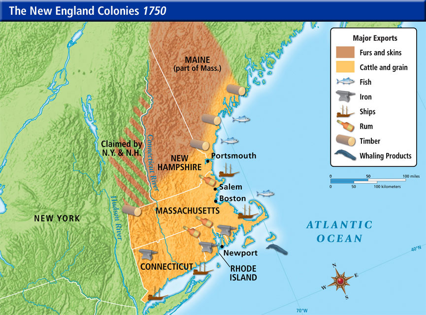 What Crops Natural Resources Did The New England Colonies Have