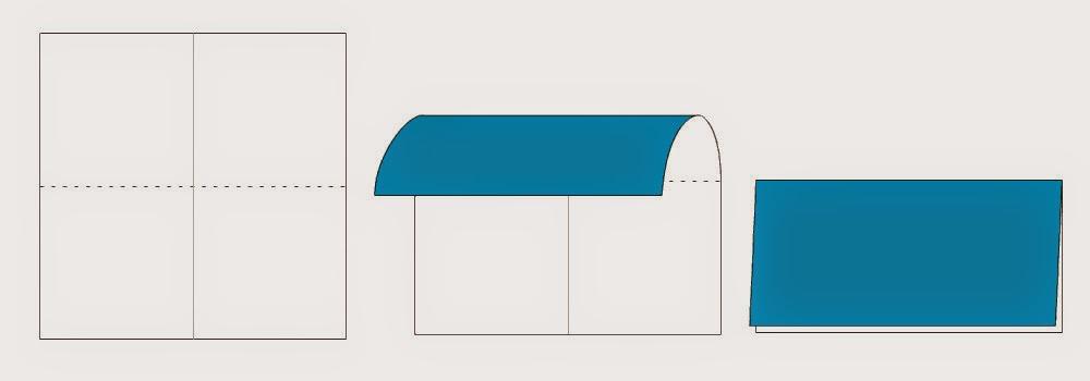 Bước 2: Tương tự ta gấp đôi tờ giấy lại (từ trên xuống dưới) sau đó mở ra. Mục đích để tạo thành nếp gấp.