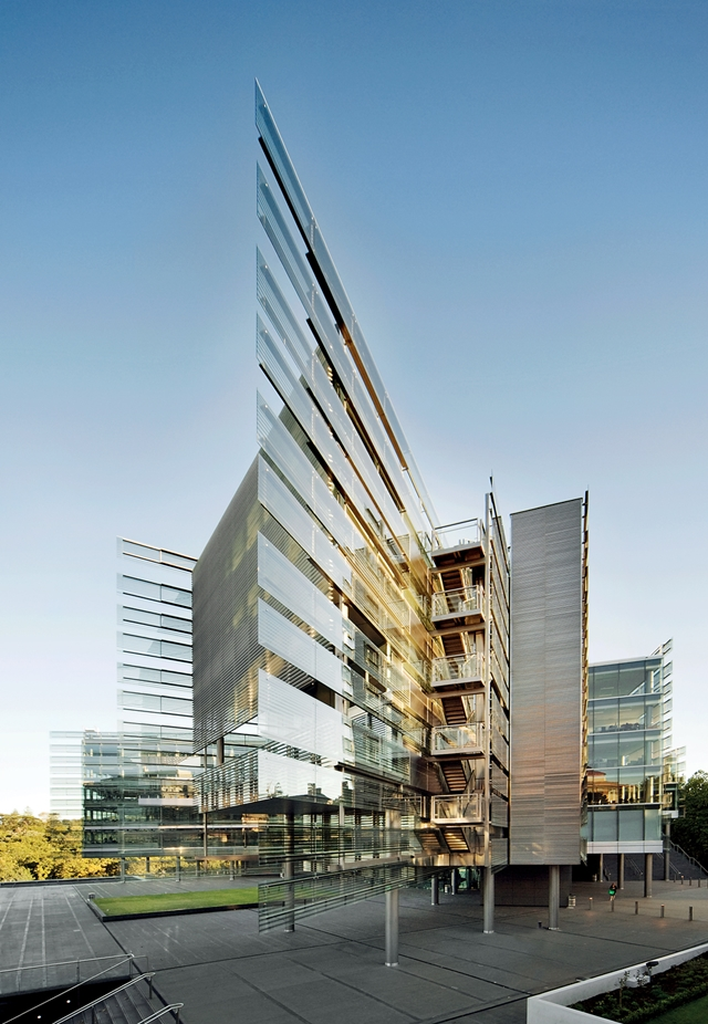 Extreme glass facade on the building