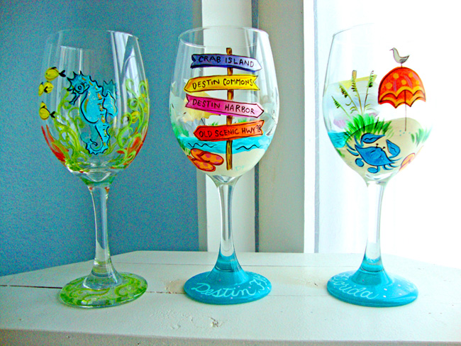Denise Loves Art: Hand Painted Wineglasses By Denise