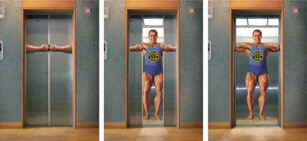 Publicidad Creativa, ascensores, Golds Gym
