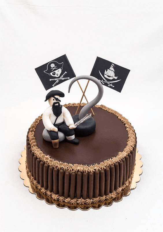 Captian hook fondant chocolate cake front