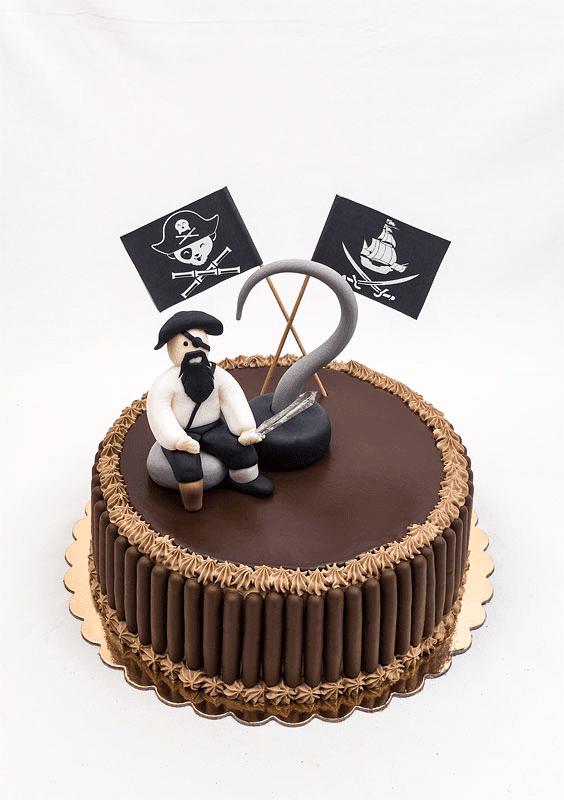 Captian hook fondant chocolate cake front