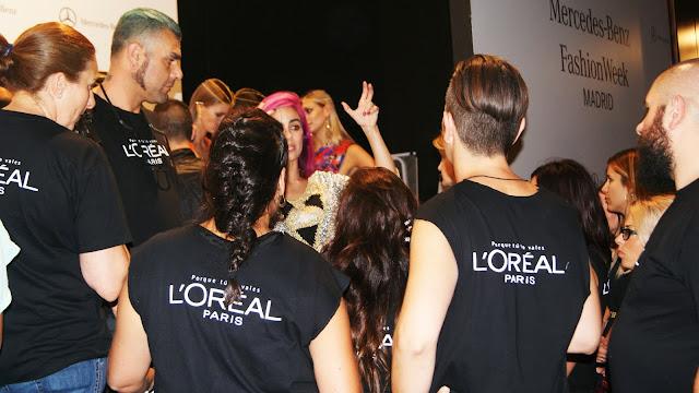 equipo l'oreal backstage fashion week madrid