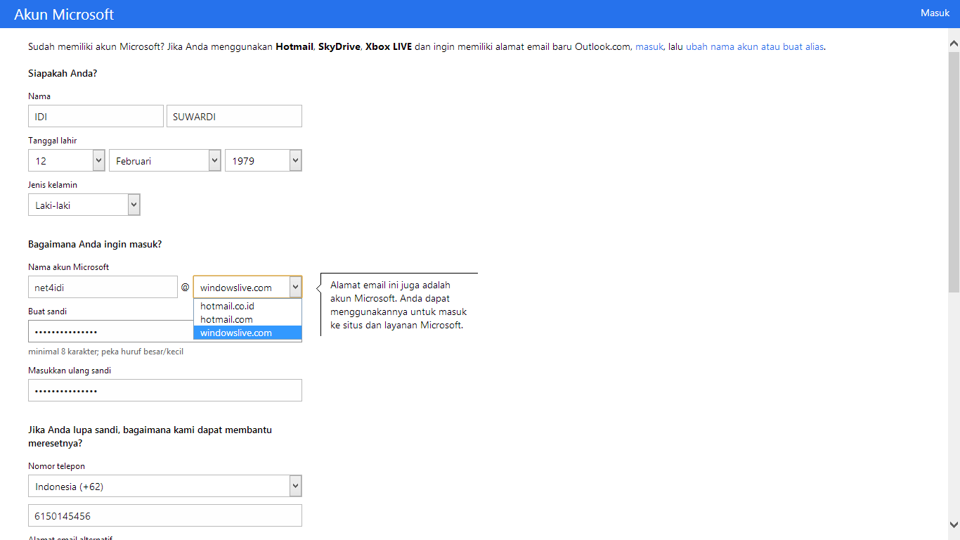 how to setup hotmail in windows live mail