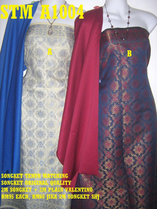 STM A1004: SONGKET TENUN MATCHING, HIGH QUALITY, 2M SONGKET + 2M PLAIN