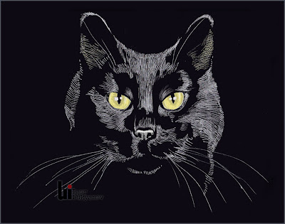 cool white on black cat drawing
