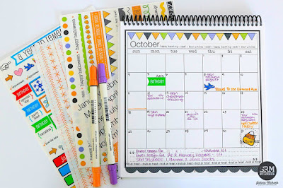SRM Stickers Blog - October Planner Pages/Calendar by Juliana - #planner #calendar #october #halloween #months #numbers #stickers #DIY