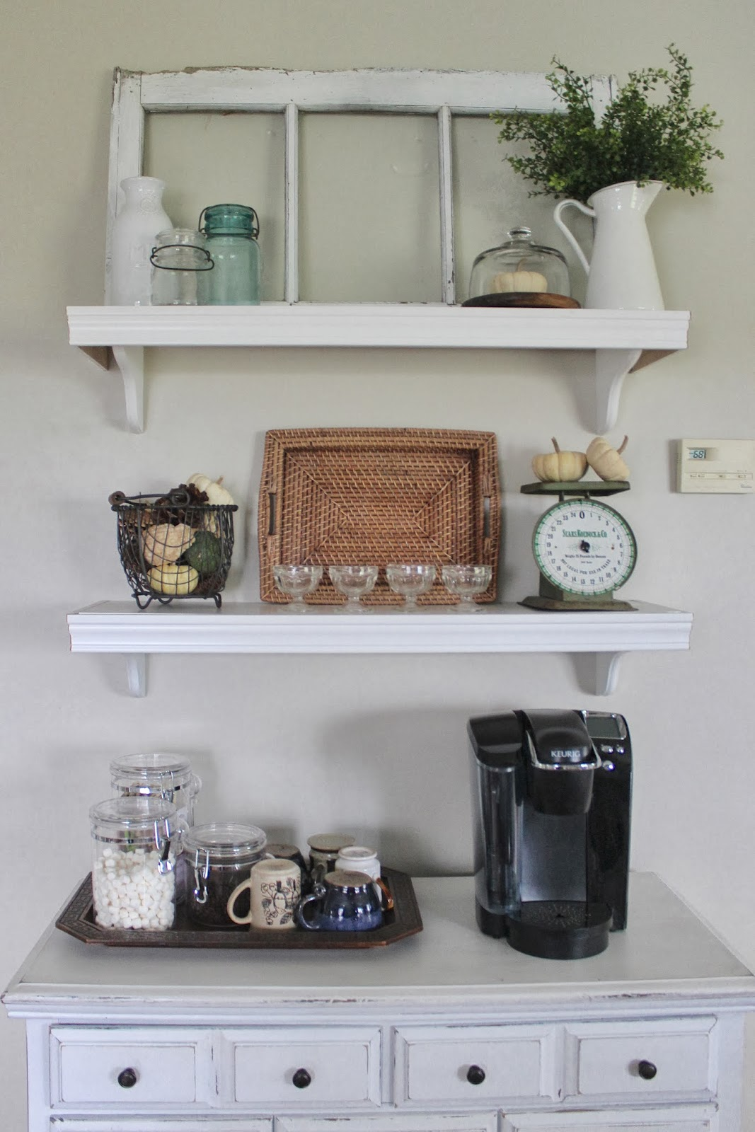Behind the red barn door kitchen wall shelves for Kitchen cabinets lowes with nova wall art