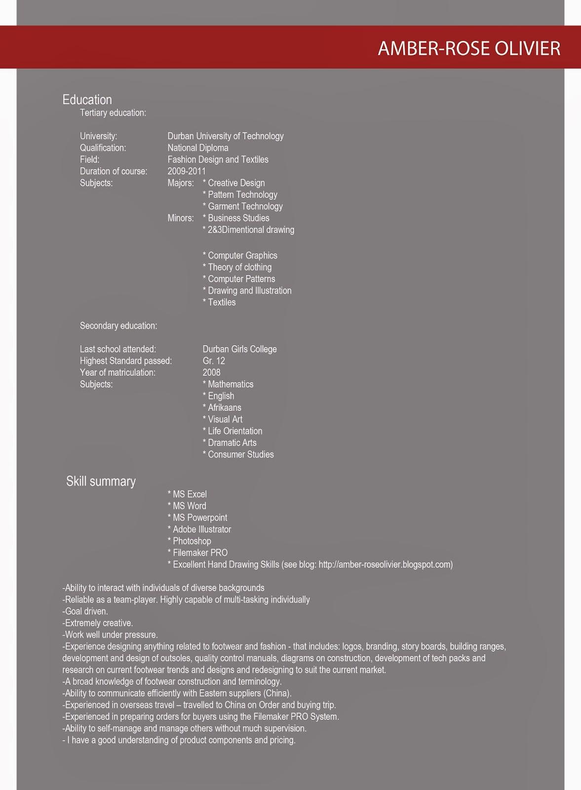 Portfolio And CV Preview Booklet Designed By Amber Rose Olivier I